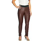 Belle Gray by Lisa Rinna Faux Leather and Ponte Knit Leggings - A257716