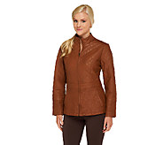 Susan Graver Faux Leather Floral Quilted Zip Front Jacket - A258016