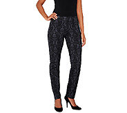 Women with Control Regular Brocade Print Slim Leg Pants - A258516