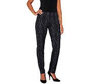 Women with Control Regular Brocade Print Slim Leg Pants - A258516