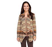 Susan Graver Printed Sweater Knit Open Front Long Sleeve Cardigan - A258616