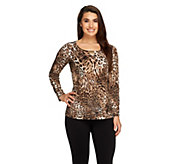 Susan Graver Printed Liquid Knit Scoop Neck Top with Metal Embellishment - A261216