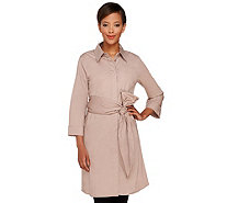 Dennis Basso Stretch Woven 3/4 Sleeve Tunic with Sash Belt - A264916