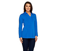 As Is Denim & Co. Active Regular Roll-Tab Sleeve Knit Tunic - A265116