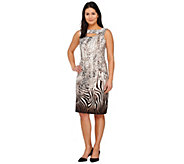 George Simonton Animal Print Milky Knit Dress with Keyhole Detail - A265416