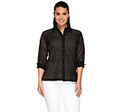 Linea by Louis DellOlio Eyelet Button Up Blouse - A265616