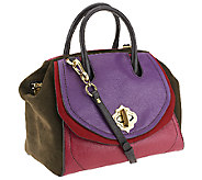 As Is orYANY Mindy Suede & Diamond Leather Satchel - A267516