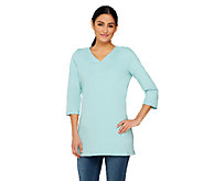 As Is Denim & Co. Knit Tunic 3/4 Sleeve with Attached Smoothing Tank - A268516