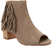 Kensie Suede Open-toe Booties with Side Fringe - Erika - A270716