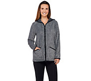 Denim & Co. Zip Front Plush Backed Fleece Jacket with Hood - A271316
