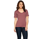 As Is Liz Claiborne New York Essentials Rounded V-Neck Cotton T-Shirt - A271816
