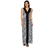 As Is Denim & Co. Printed V-neck Max Dress w/ Solid Front Panel - A274716