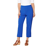 Susan Graver Chelsea Stretch Comfort Waist Side Zip Crop Pants - A275216