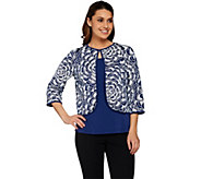 Bob Mackies Floral Sequin Cropped Jacket and Solid Tank Set - A275316