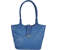 H by Halston Reptile Embosssed Matte Leather Tote Handbag - A276516