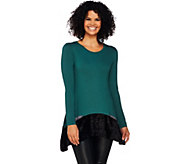 As Is LOGO by Lori Goldstein Knit Top with Crushed Velvet Hem & Pockets - A279316