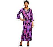 As Is Bob Mackies Jeweled Collar Ikat Print Caftan - A279616