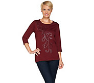 Quacker Factory Rhinestone Flair 3/4 Sleeve T-shirt - A280816