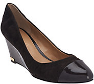 As Is Judith Ripka Suede Wedges with Patent Leather Toe- Irene - A281016