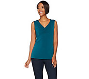 Susan Graver Modern Fit Essential Sleeveless Liquid Knit Top - A282116