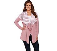As Is Denim & Co. Drape Front Long Sleeve Striped Cardigan - A282516