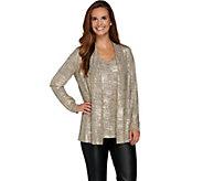 Susan Graver Foil Print Sweater Knit Cardigan & Tank Set - A282916
