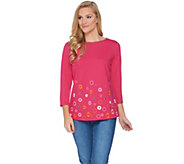Susan Graver Weekend French Terry Embroidered Top - A286716
