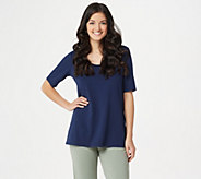 Belle by Kim Gravel Essentials Elbow Sleeve Scoop Neck Top - A291216