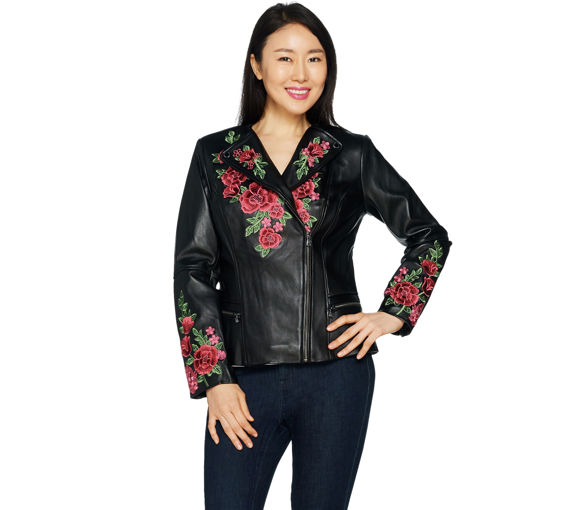Special Edition Floral Embroidered Leather Jacket - A295816