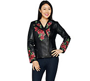 Isaac Mizrahi Live! Special Edition Floral Embroidered Leather Jacket - A295816