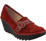 FLY London Suede Wedge Loafers - Yond - A297216