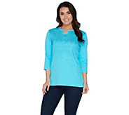 Quacker Factory Keyhole Neck Rib Knit T-shirt with Sequin Detail - A301416