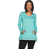 LOGO Lounge by Lori Goldstein French Terry Top w/ Kangaroo Pocket and Lace - A302416