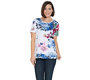 Quacker Factory Botanical Burst Sparkle Short Sleeve Knit T-shirt - A305416