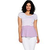 As Is Isaac Mizrahi Live! Striped Short Sleeve Knit Peplum Top - A307016