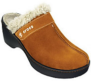 Crocs Cobbler Suede Clogs with Faux-Fur Lining - A326116