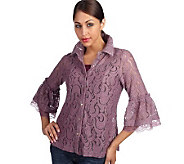 George Simonton Button Front Lace Blouse w/ Bell Sleeves - A91816