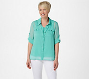 Linea by Louis DellOlio Crinkle Georgette Shirt w/ Shell - A214117