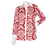 Dennis Basso Stretch Printed Charmeuse Blouse with Contrast Trim - A214217