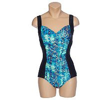 Carol Wior Shirred Front Tank 1-piece Swimsuit