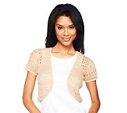 Liz Claiborne New York Hand Crochet Short Sleeve Shrug - A224017