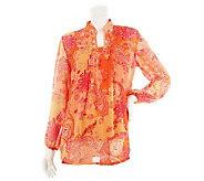 As Is Susan Graver Crinkled Chiffon Paisley Print Tunic w/ Tank - A240117