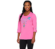Quacker Factory Sweet Hummingbird 3/4 Sleeve T-shirt - A240217