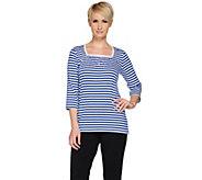 Quacker Factory Nautical Stars & Stripes Square Neck T-shirt - A240817