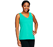 Susan Graver Weekend Stretch Cotton V-Neck Tank Top - A251317