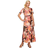 Denim & Co. Perfect Jersey Floral Print Empire Waist Maxi Dress - A251617