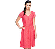 Isaac Mizrahi Live! Short Sleeve Knit Lace Dress - A253117