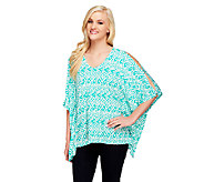 Susan Graver Liquid Knit Printed V-Neck Scarf Top with Split Sleeve - A254417
