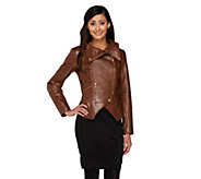 G.I.L.I. Leather Motorcycle Jacket with Zipper Details - A256717