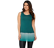 LOGO by Lori Goldstein Knit Tank with Ombre Chiffon Trim - A258917